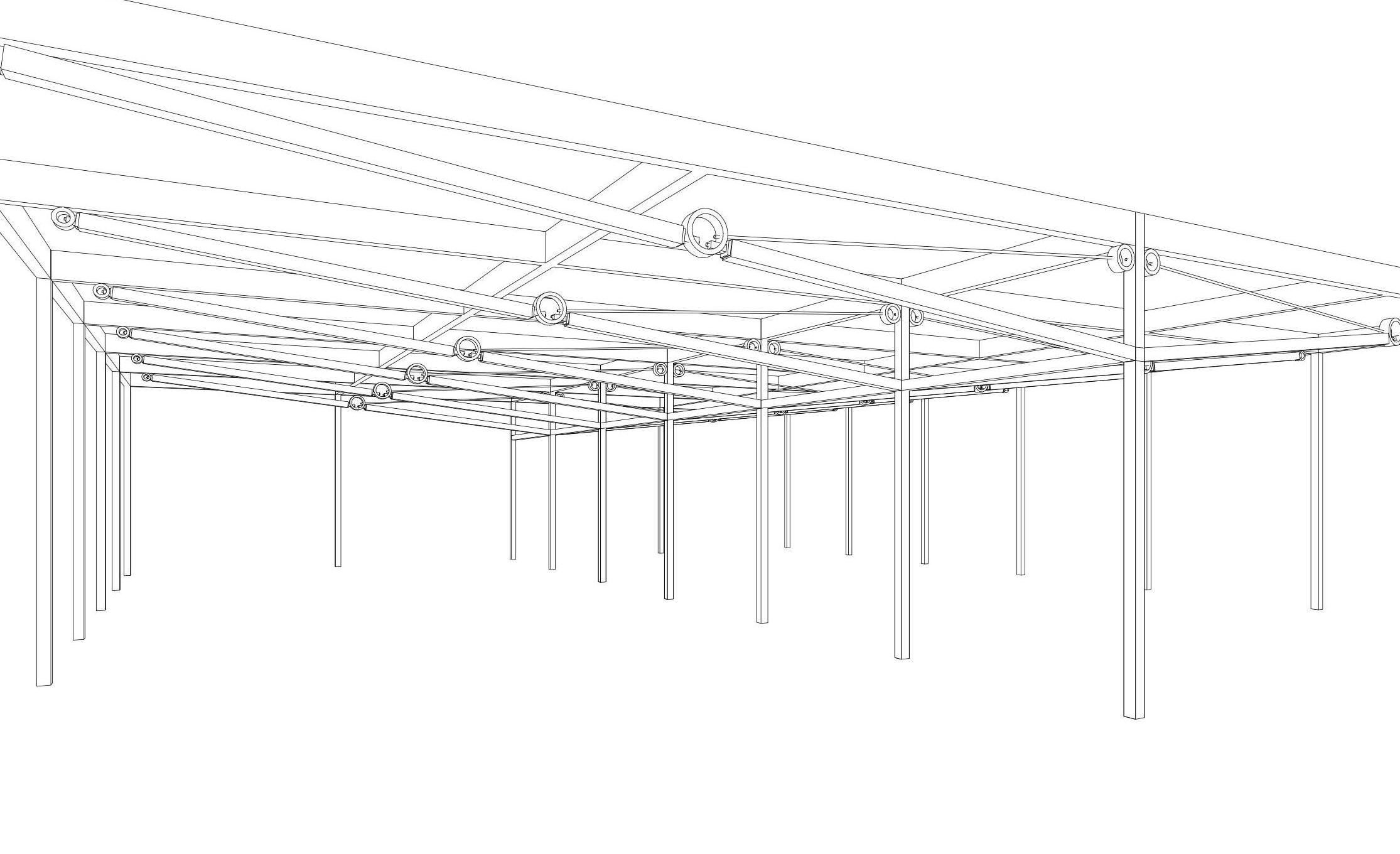 ウッディパーツオフィスの木造張弦トラス構造のスケルトンイメージ画像