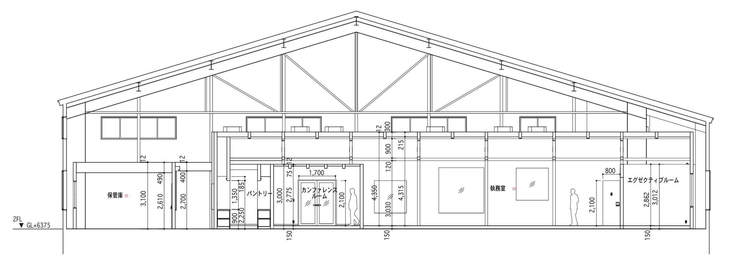 新建築2020年4月掲載のウッディパーツ第2工場オフィスプロジェクトの短手断面図