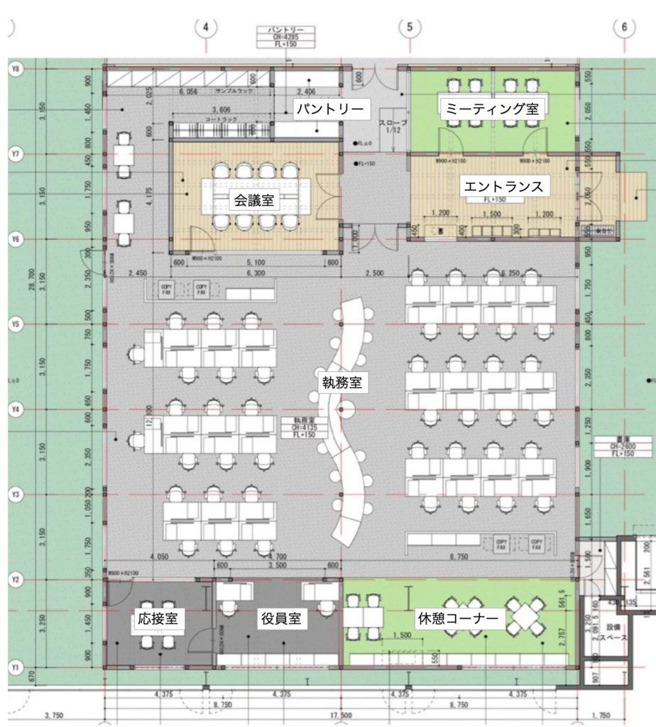 ウッディパーツオフィスの配置・平面計画の図面・画像