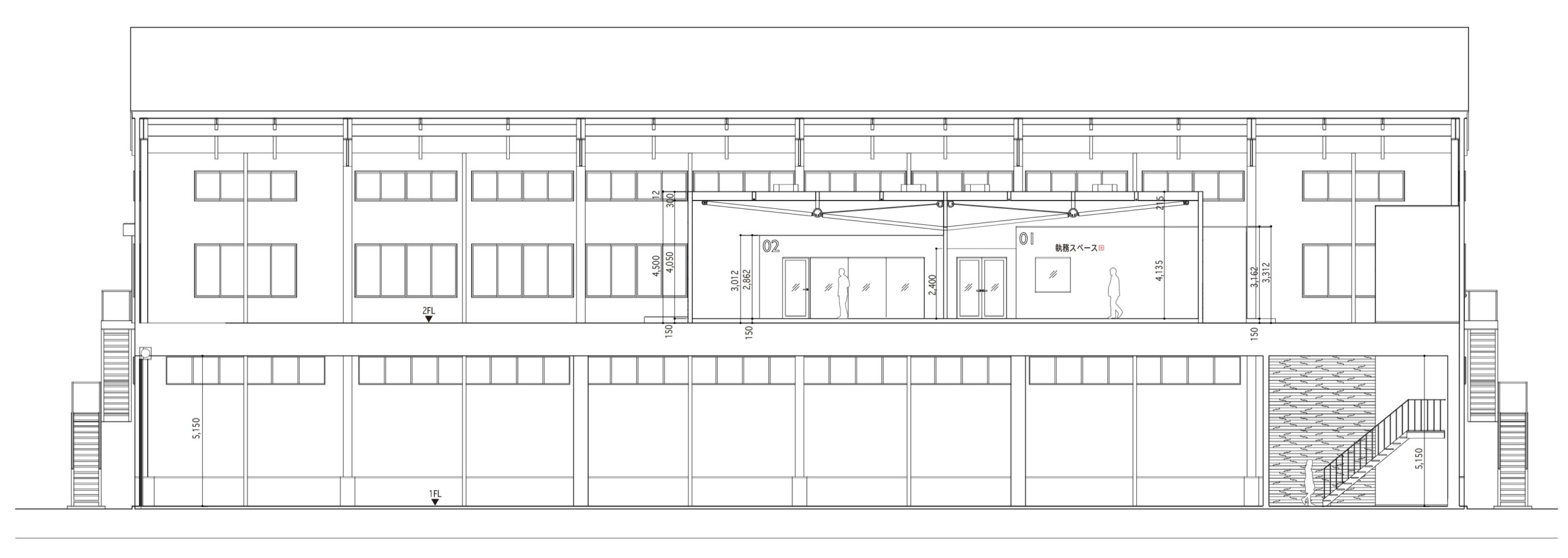 新建築2020年4月掲載のウッディパーツ第2工場オフィスプロジェクトの長手断面図