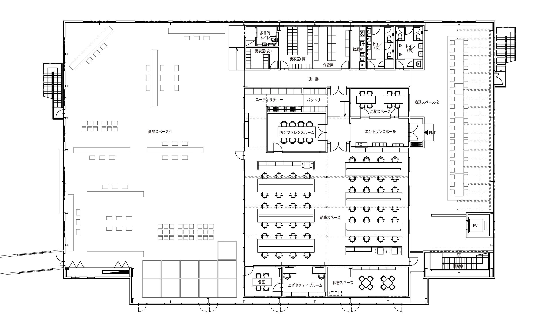 新建築2020年4月掲載のウッディパーツ第2工場オフィスプロジェクトの平面図