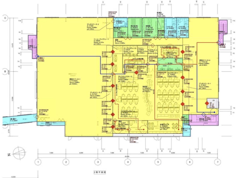 避難安全検証により排煙区画を免除したウッディパーツオフィスの2階平面図