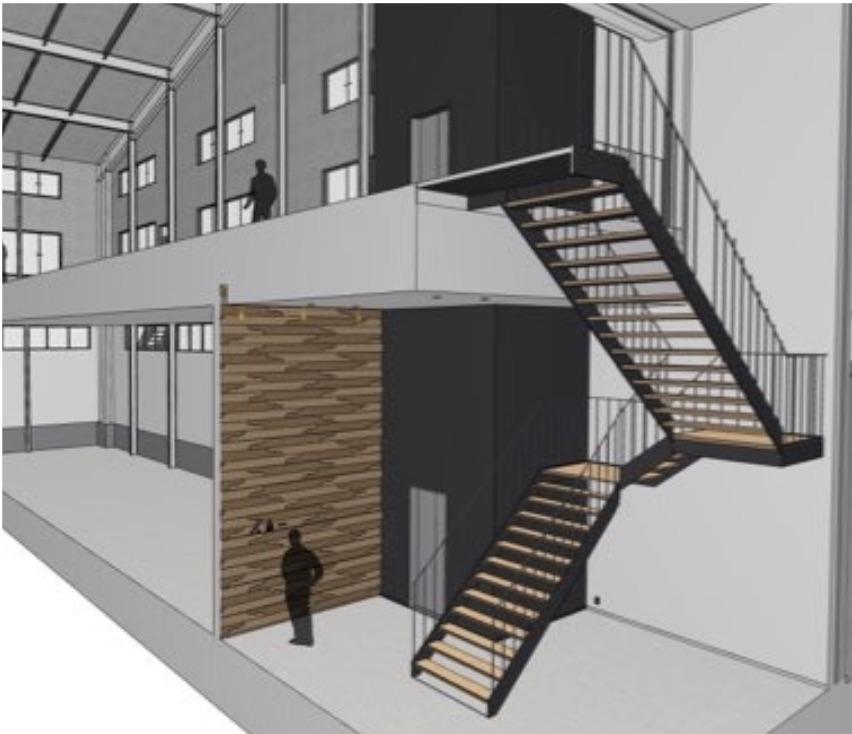 実施設計においてもBIM(ArchiCAD)を活用したウッディパーツオフィスのウォークスルーデータの画像