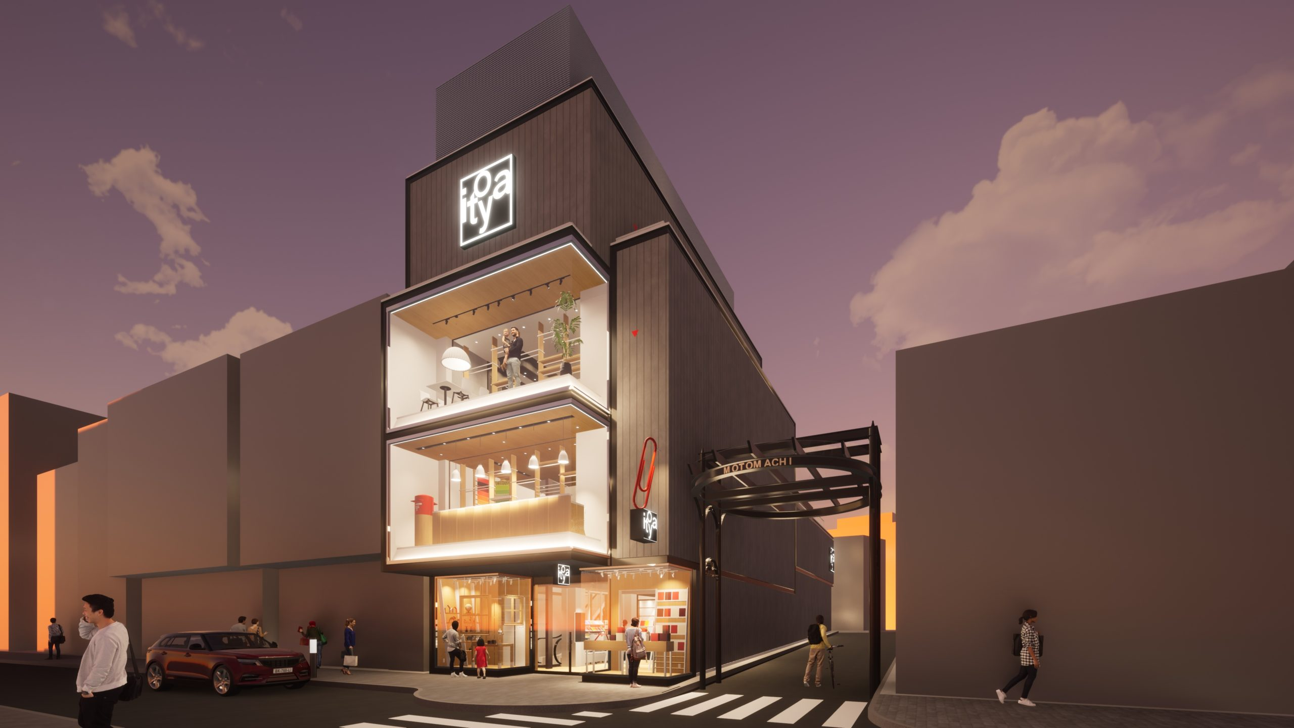 Twinmotionで作成した横浜元町商店街の銀座伊東屋横浜元町店の外観CGイメージ画像