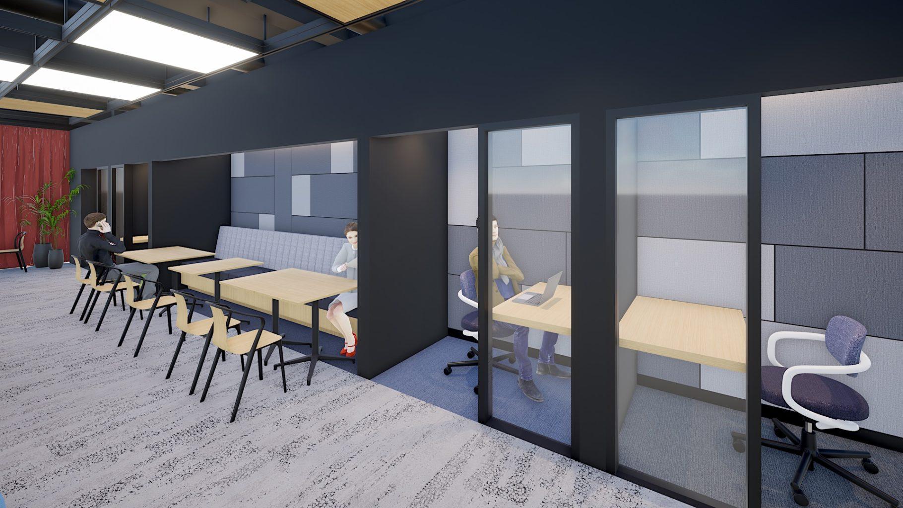サテライトオフィス内の個人で集中できるフォーカスブースのイメージ