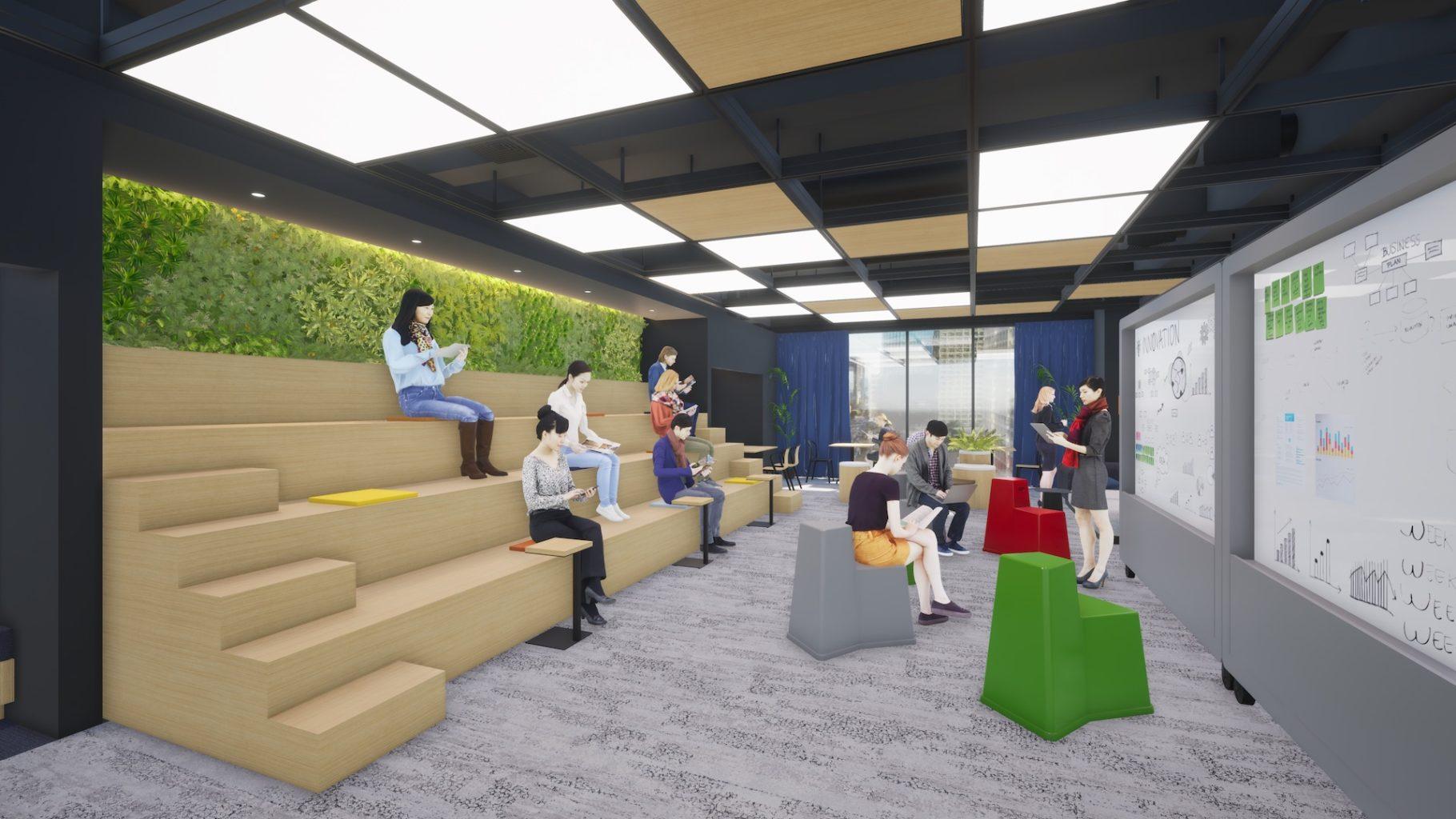 サテライトオフィス内の多目的に使えるひな壇状のプレゼンテーションスペースのイメージ