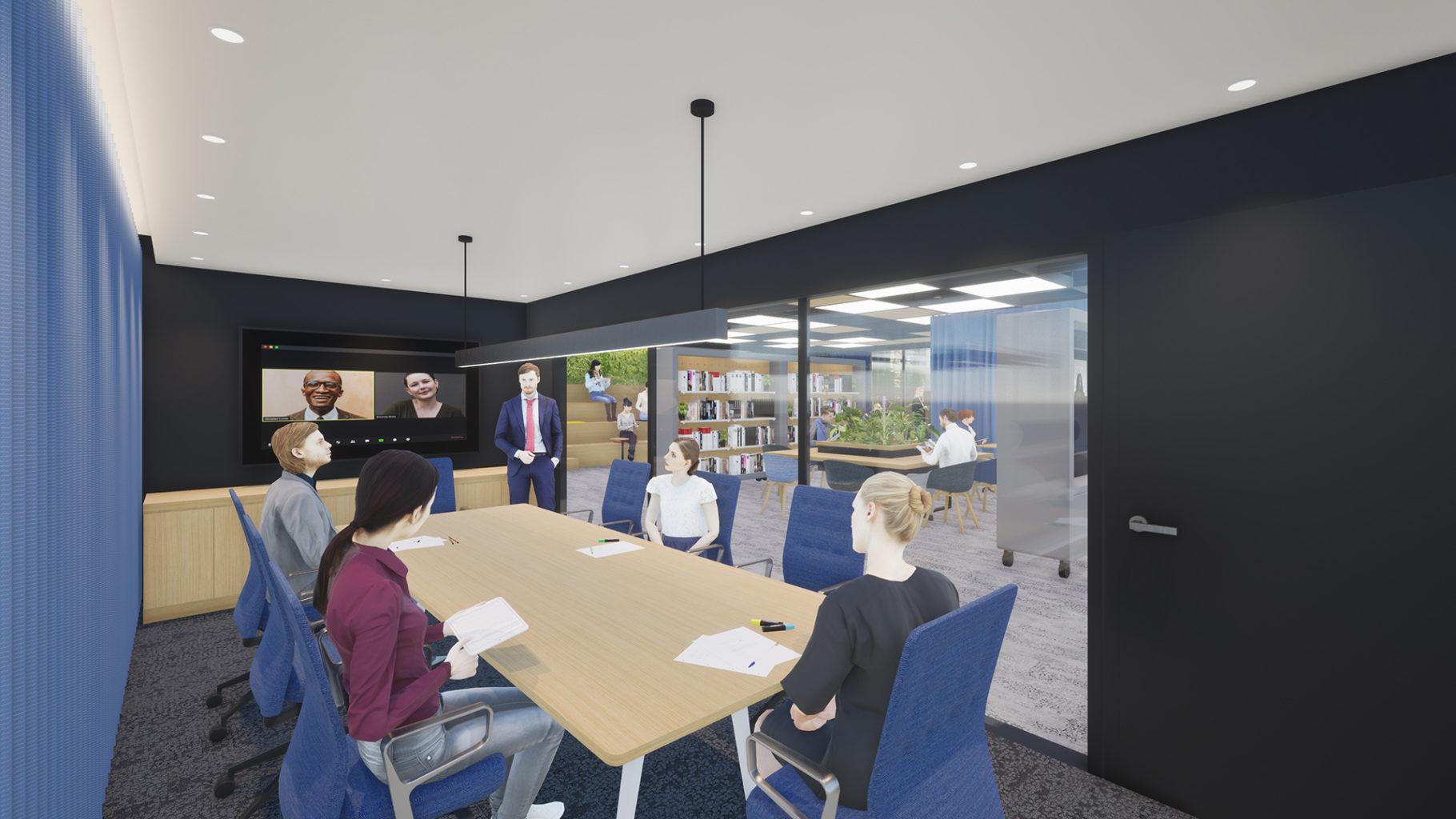 WEB会議用のデバイスを備え、遮音対策も施されたボードルーム(サテライトオフィス)