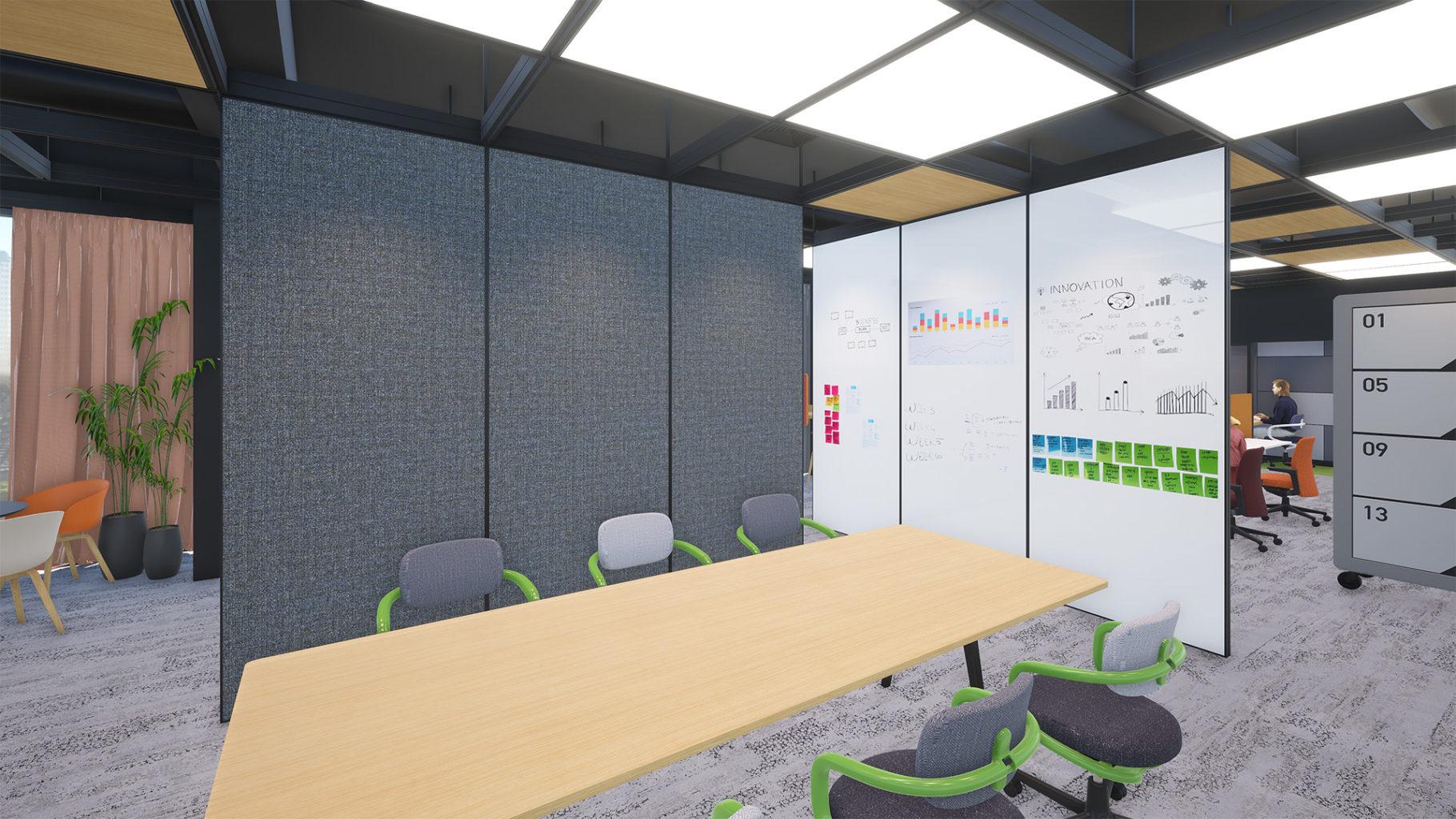 オフィス内のグリッド状にレイアウトされた移動間仕切りレールの使用事例・イメージ