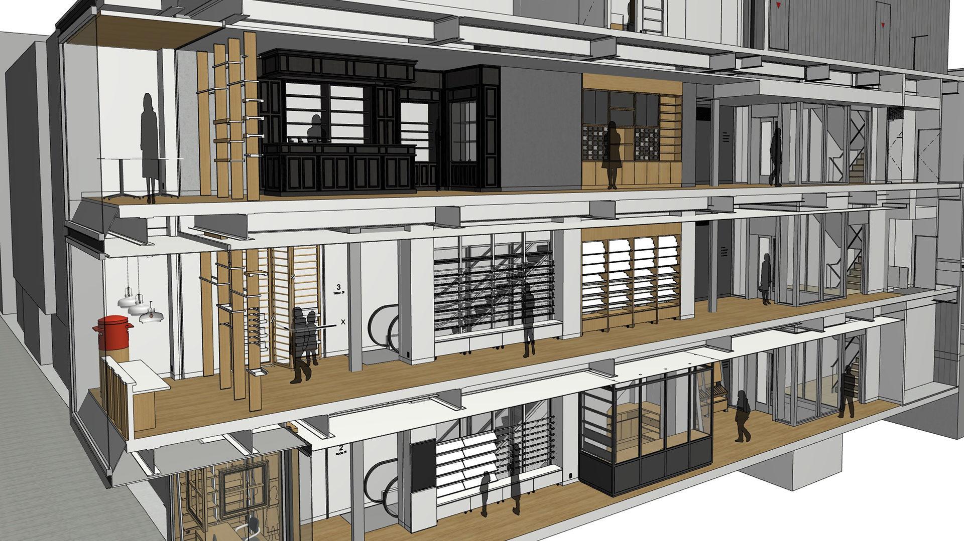 BIM(3Dモデル)により正確で迅速な設計フローを実現した銀座伊東屋横浜元町の断面パース画像