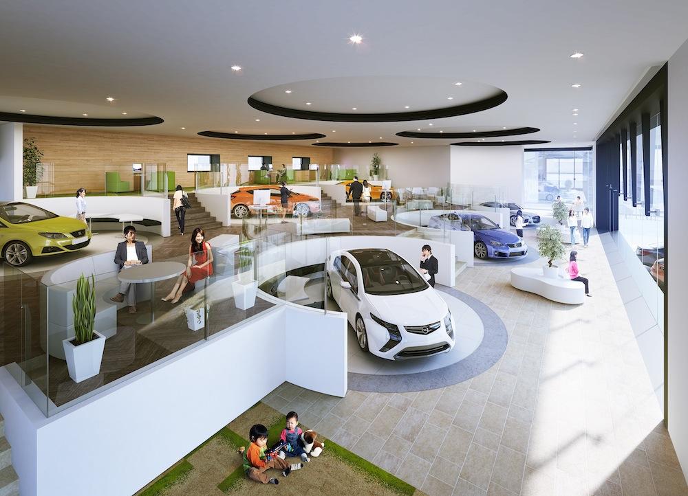 ガリバー安積店のショールーム全体の内観俯瞰イメージ